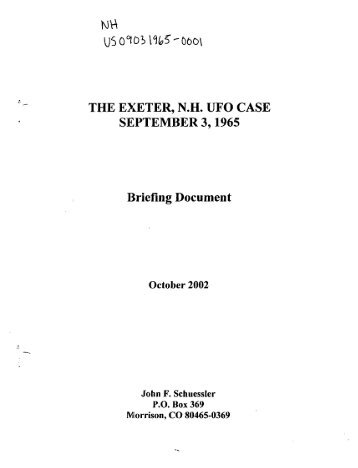 The Exeter UFO Case - 1965