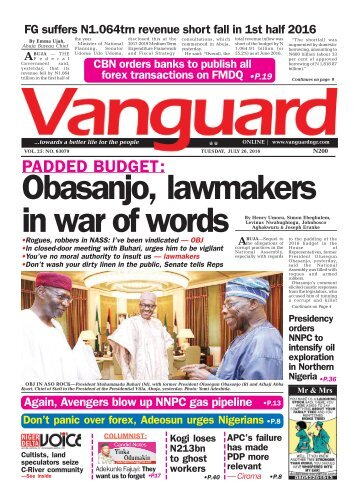 PADDED BUDGET: Obasanjo, Lawmakers in war of words
