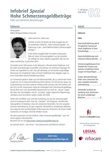 Infobrief Hohe Schmerzensgeldbeträge 02/2016