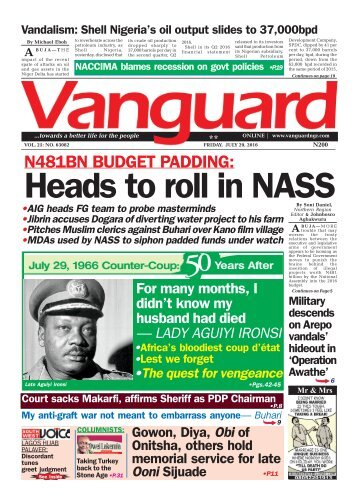 N481BN BUDGET PADDING: Heads to roll in NASS 29072016