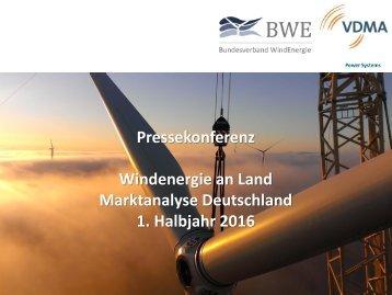 Windenergie an Land Marktanalyse Deutschland 1,Halbjahr 2016