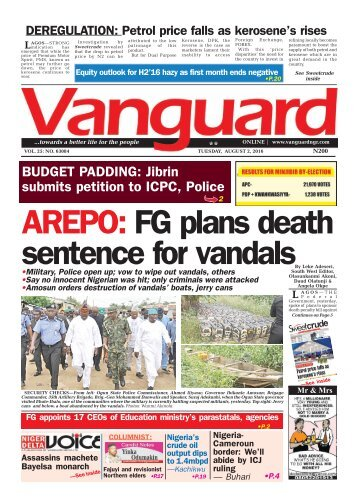 AREPO: FG plans death sentence for vandals