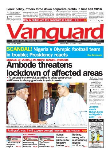 MENACE OF VANDALS IN AREPO, IGANDO, IKORODU: Ambode threatens lockdown of affected areas