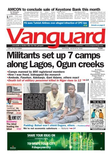 Militants set up 7 camps along Lagos, Ogun creeks