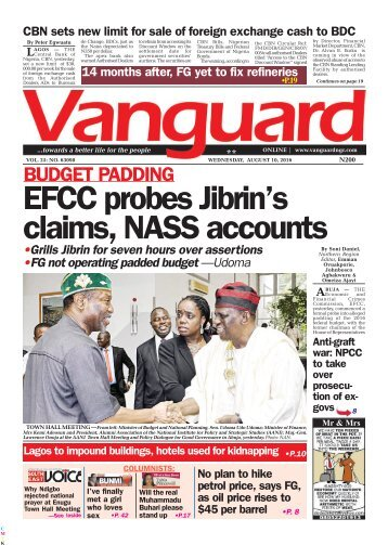 BUDGET PADDING: EFCC Probes Jibrin's claims, NASS accounts