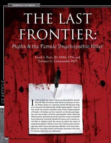 The Final Frontier: Female Psychopathic Killers