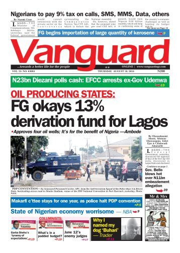 FG okays 13% derivation fund for Lagos