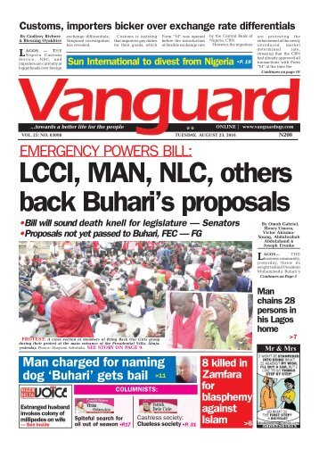 EMERGENCY POWERS BILL: LCCI, MAN, NLC, others back Buhari's proposals