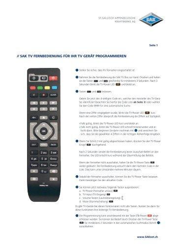SAK TV Fernbedienung für Ihr TV Gerät programmieren
