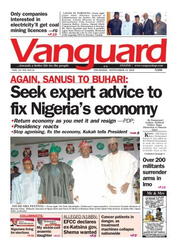 AGAIN, SANUSI TO BUHARI: Seek expert advice to fix Nigeria's economy