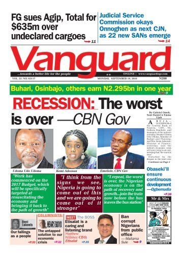 RECESSION: The worst is over —CBN Gov