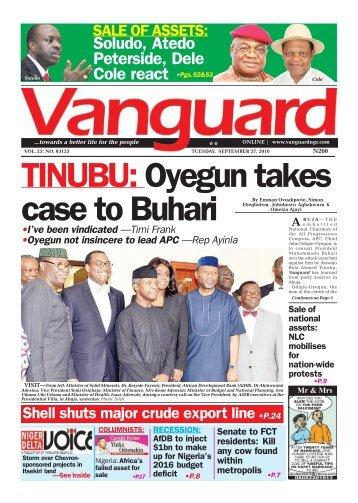 TINUBU: Oyegun takes case to Buhari
