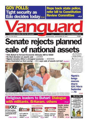 Senate rejects planned sale of national assets
