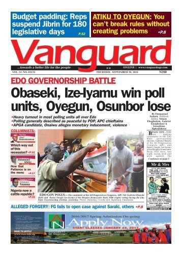 EDO GOVERNORSHIP BATTLE: Obaseki, Ize-Iyamu win poll units, Oyegun, Osunbor lose