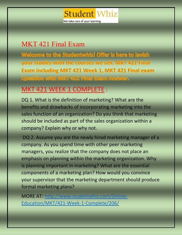mkt 300 final exam pdf Mkt 314 advertising american river college fall, 2011 evening web-enhanced section (full semester) course number: 12668 mkt 300 (principles of marketing.