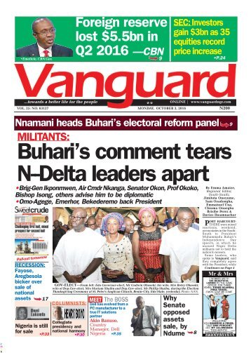 Buhari's comment tears N-Delta leaders apart