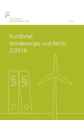 Rundbrief Windenergie und Recht 2/2016