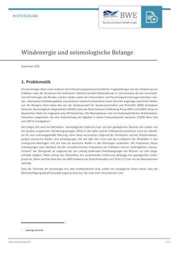 Windenergie und seismologische Belange - Hintergrundpapier
