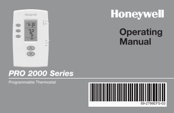 Honeywell PRO 2000 5-2 Day Programmable Thermostat - PRO 2000 5-2 Day Programmable Thermostat Operating Manual (English,French,Spanish)