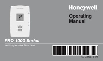 Honeywell PRO 1000 Non-Programmable Thermostat - PRO 1000 Non-Programmable Thermostat Operating Manual (English,French,Spanish)