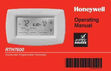 Honeywell 7-Day Programmable Thermostat (RTH7600D) - 7-Day Programmable Thermostat Operating Manual (English,French)