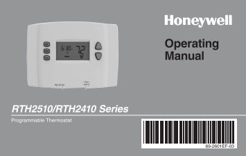 Honeywell 5-1-1 Day Programmable Thermostat (RTH2410B) - 5-1-1 Day Programmable Thermostat Operating Manual (English,French)