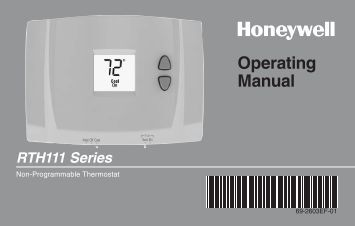Honeywell Digital Non-Programmable Thermostat (RTH111B1016) - Digital Non-Programmable Thermostat Operating Manual (English,French)