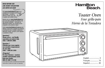 Hamilton Beach Stainless Steel 6 Slice Toaster Oven (31511) - Use and Care Guide