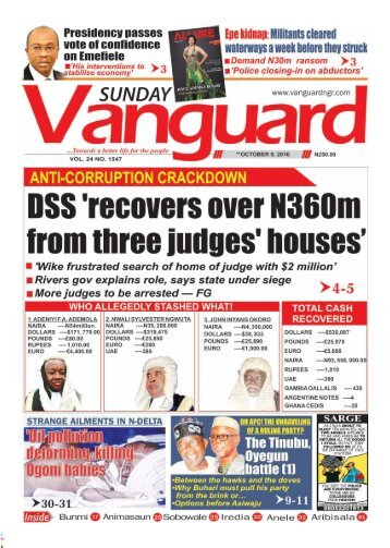 DSS 'recovers over N360m from three judges' houses'