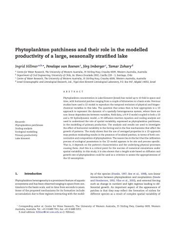Phytoplankton patchiness and their role in the modelled productivity ...