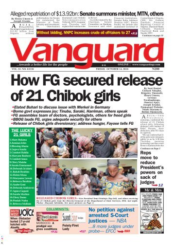 How FG secured release of 21 Chibok girls