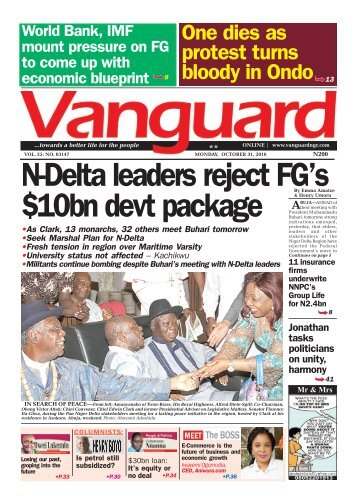 N-Delta leaders reject FG's bn devt package