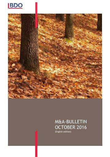 M&A-BULLETIN OCTOBER 2016
