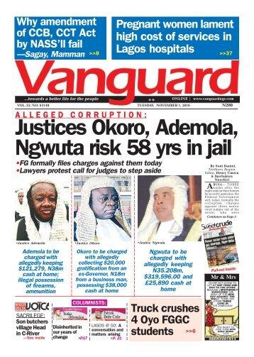 A L L E G E D C O R R U P T I O N : Justices Okoro, Ademola, Ngwuta risk 58 yrs in jail