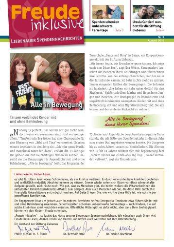 Liebenauer Spendennachrichten August 2015