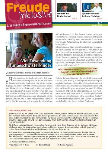 Liebenauer Spendennachrichten August 2014