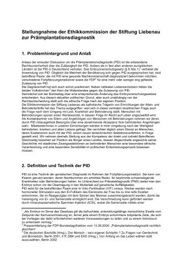 Stellungnahme zur Präimplantationsdiagnostik (2011)