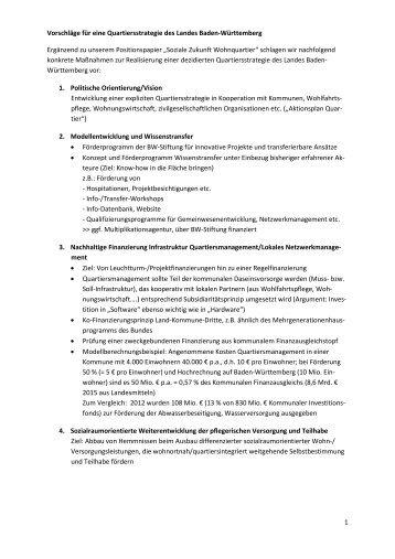 Vorschläge für eine Quartiersstrategie des Landes Baden-Württemberg