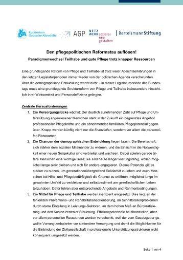 Gemeinsame Erklärung: Den pflegepolitischen Reformstau auflösen! (2014)