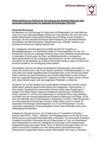 Stellungnahme zum Entwurf der Verordnung des Sozialministeriums über personelle Anforderungen für stationäre Einrichtungen (PErsVO)