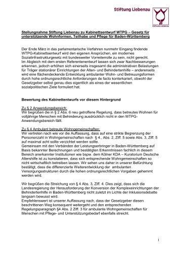 Stellungnahme zum WTPG-Kabinettsentwurf (Wohn-, Teilhabe- und Pflegegesetz für Baden-Württemberg) (2014)