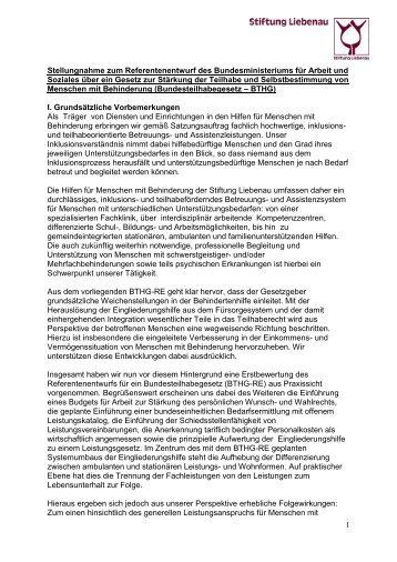 Stellungnahme zum Referentenentwurf Bundesteilhabegesetz (Mai 2016)