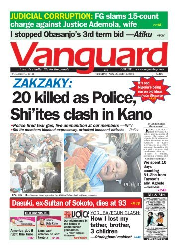 ZAKZAKY: 20 killed as Police, Shi'ites clash in Kano