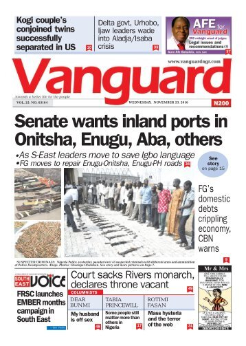Senate wants inland ports in Onitsha, Enugu, Aba, others