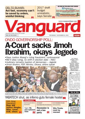 ONDO GOVERNORSHIP POLL: A-Court sacks Jimoh Ibrahim, okays Jegede