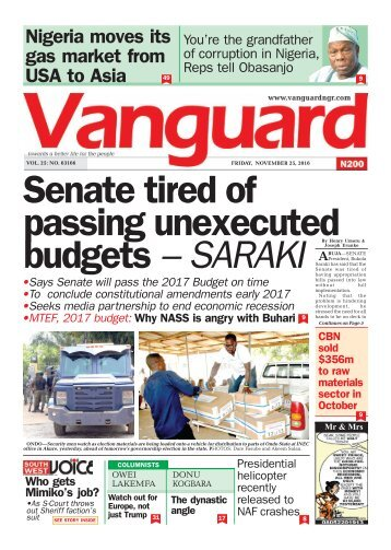 Senate tired of passing unexecuted budgets – SARAKI