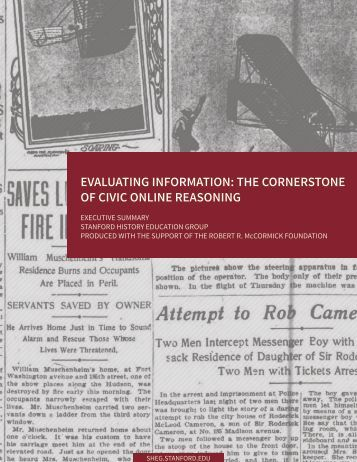 EVALUATING INFORMATION THE CORNERSTONE OF CIVIC ONLINE REASONING