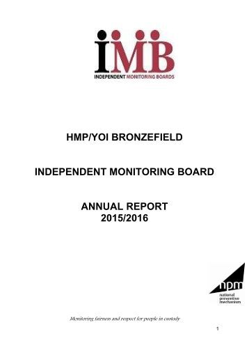 HMP/YOI BRONZEFIELD INDEPENDENT MONITORING BOARD ANNUAL REPORT 2015/2016