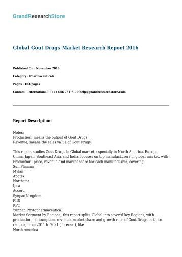 Global Gout Drugs Market Research Report 2016