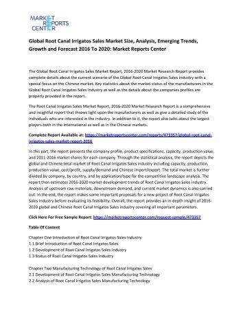 Global Root Canal Irrigatos Sales Market